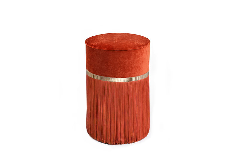 PLAIN ORANGE POUF / OTTOMAN  diameter: 30 cm
