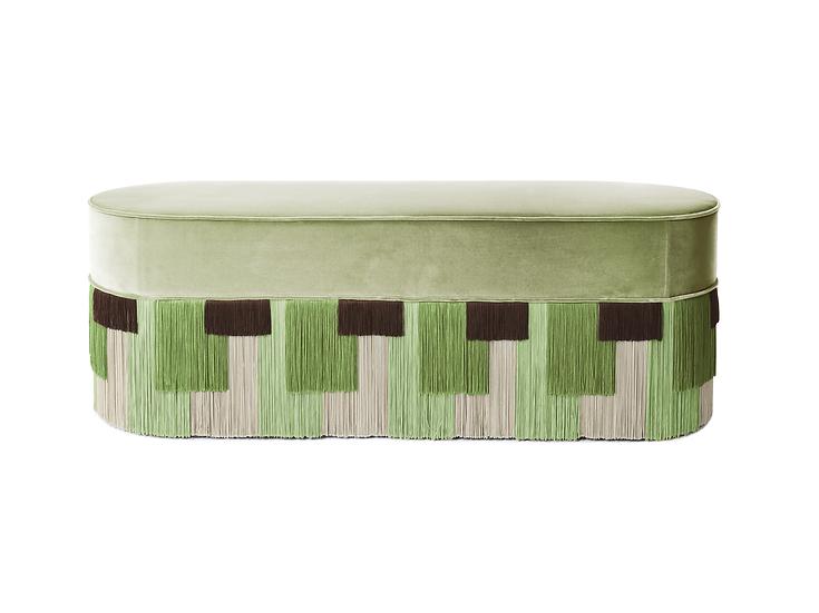 GEO STRIPE GREEN LONG OVAL BENCH length: 130 cm