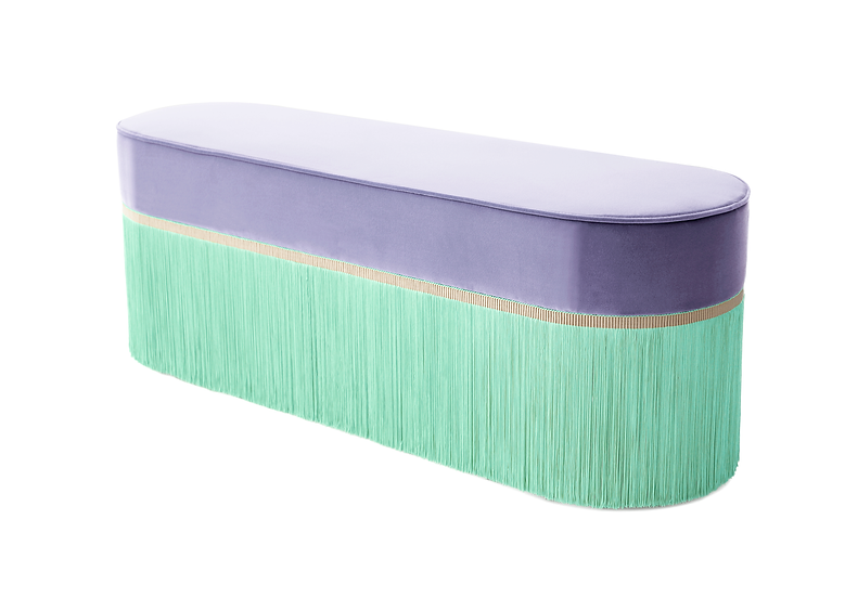 COLOUR LILAC OVAL LONG BENCH length: 130 cm