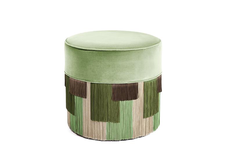 GEO STRIPE GREEN POUF / OTTOMAN  diameter: 50cm