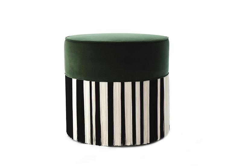 WHITE LINE DARK GREEN POUF diameter: 50cm