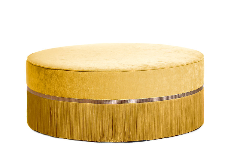 PLAIN YELLOW LARGE ROUND POUF diameter: 95 cm