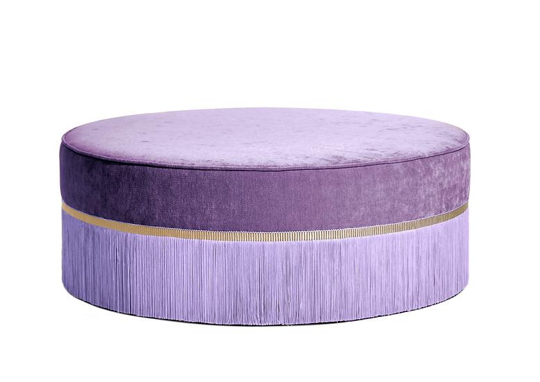 PLAIN  PURPLE LARGE ROUND POUF diameter: 95 cm