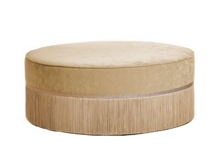PLAIN BEIGE LARGE ROUND POUF diameter: 95 cm