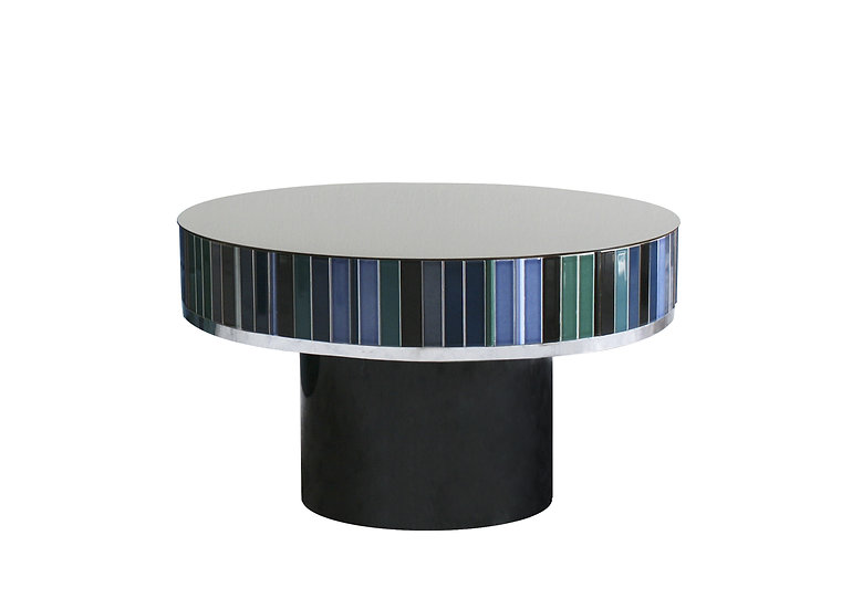 BLUE CERAMIC TILES LOW TABLE diameter: 62.5 cm