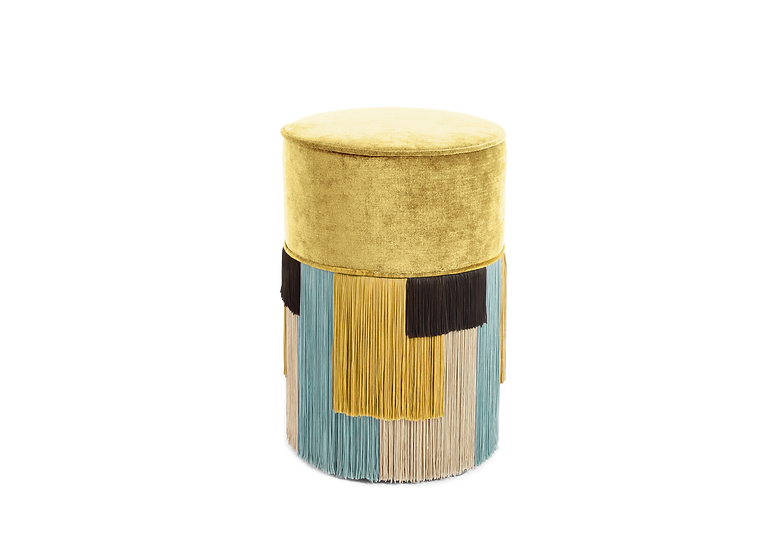 GEO STRIPE YELLOW POUF/ OTTOMAN diameter: 30 cm