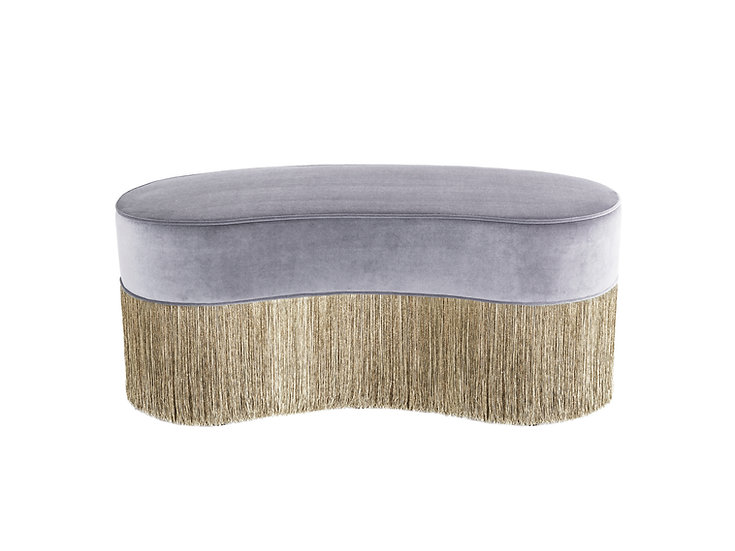 LILLAC WITH GOLD FRINGE BEAN BENCH length 102