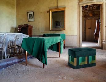 Flo' green rectangular bench 70X35 cm