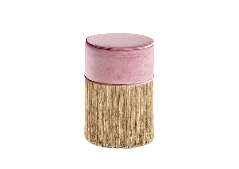 PINK SPARKLE ROUND POUF WITH GOLD FRINGE Diameter: 30cm