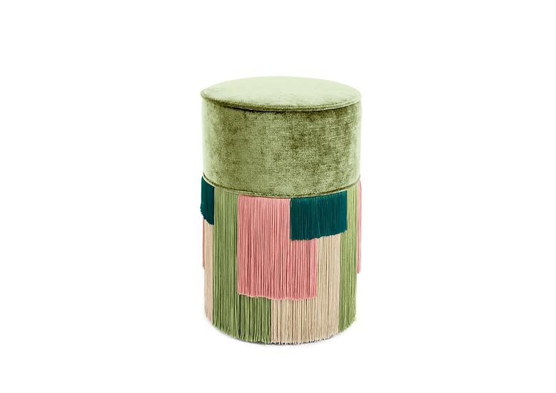 GEO STRIPE GREEN POUF/ OTTOMAN diameter: 30 cm