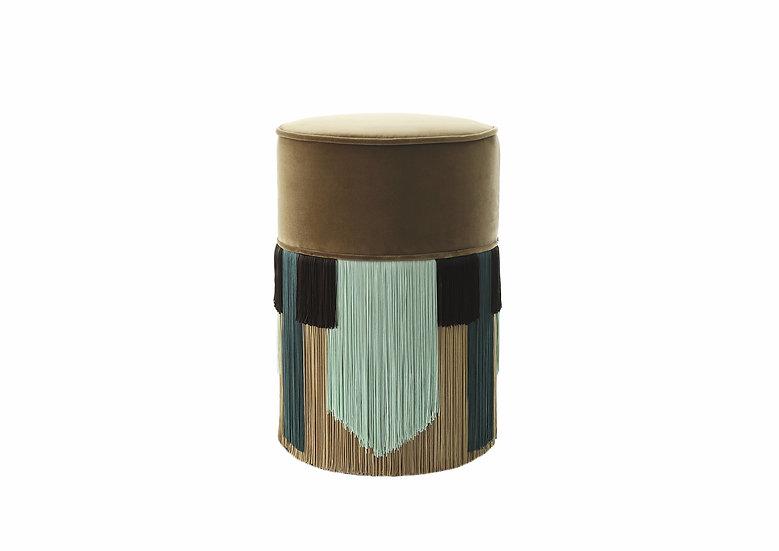 GEO TIE DARK BEIGE POUF/ OTTOMAN diameter: 30 cm