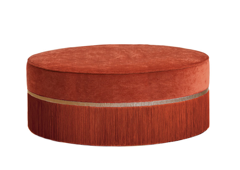 PLAIN ORANGE LARGE ROUND POUF diameter: 95 cm