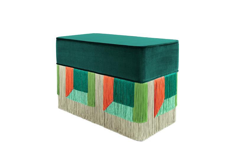 FLO' GREEN RECTANGULAR BENCH length: 70 cm