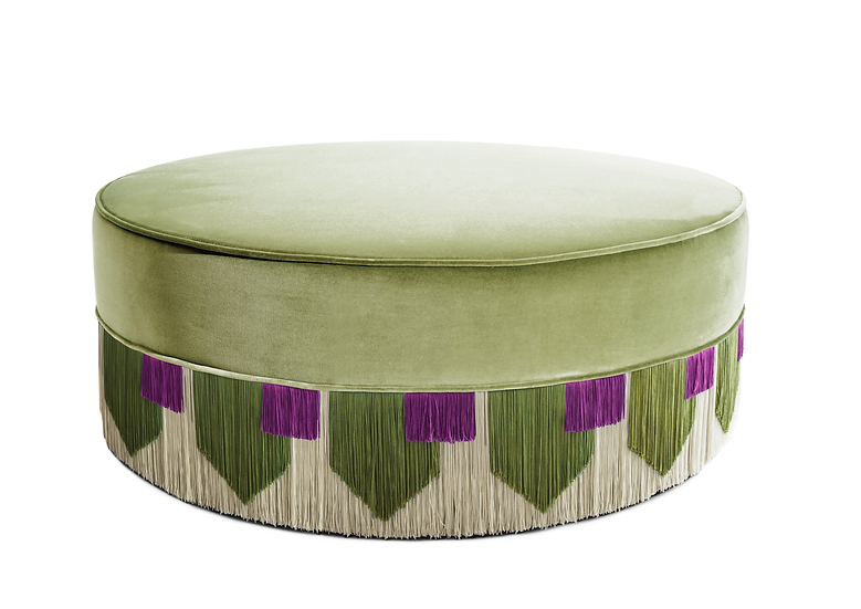 TIE GREEN LARGE ROUND POUF diameter: 95 cm