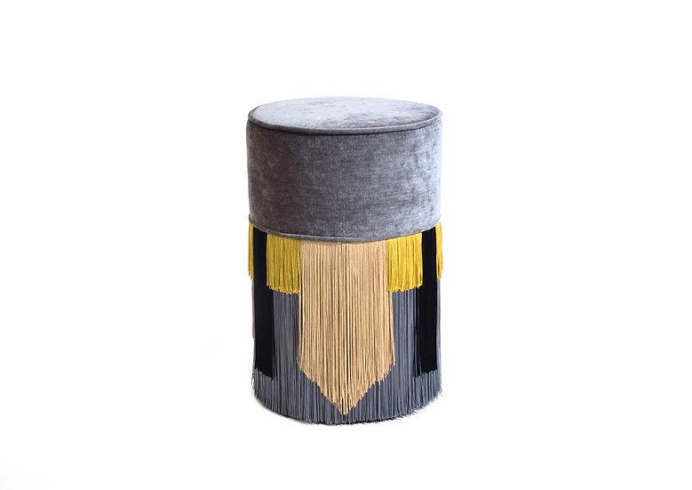 GEO TIE GREY POUF/ OTTOMAN diameter: 30 cm