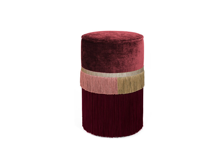PLAIN LINE RED POUF/ OTTOMAN diameter: 30 cm