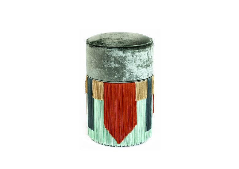 GEO TIE GREEN POUF/ OTTOMAN diameter: 30 cm