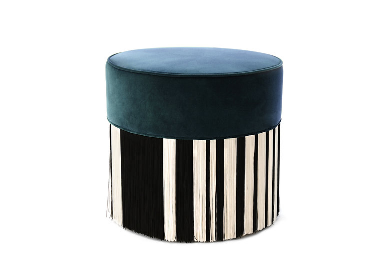 WHITE LINE NAVY BLUE POUF diameter: 50cm