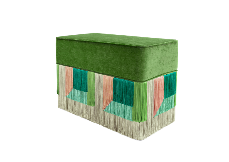 FLO' GREEN RECTANGULAR BENCH length: 70 cm