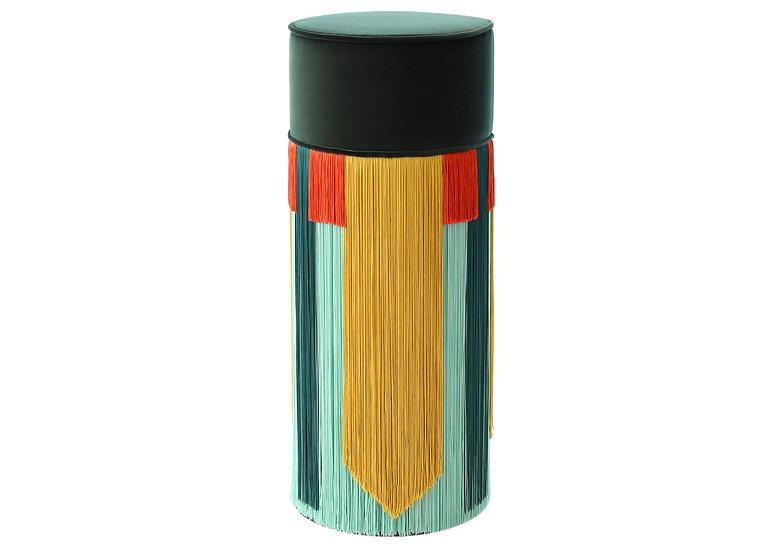GEO TIE DARK GREEN BAR (HIGH) POUF diameter: 30 cm