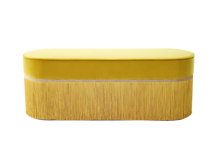 PLAIN COLOUR YELLOW OVAL LONG BENCH length: 130 cm