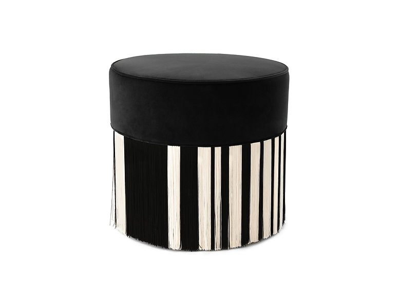 WHITE LINE BLACK POUF diameter: 50cm