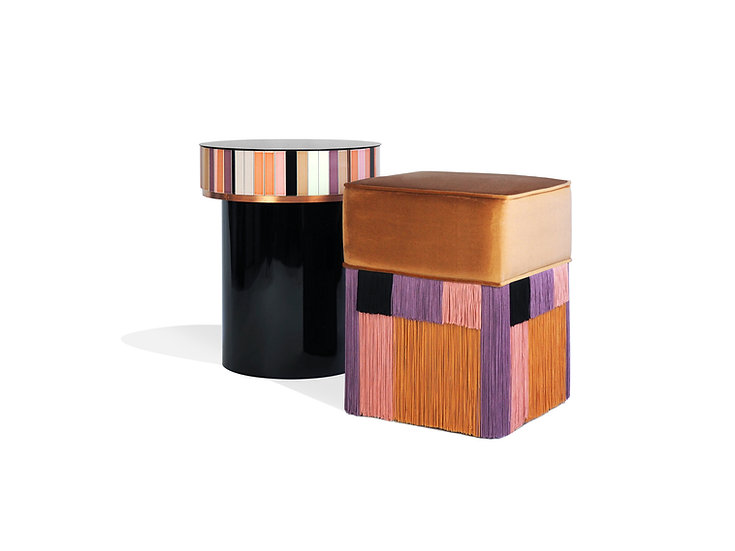 CERAMIC TABLE WITH SQUARE POUF