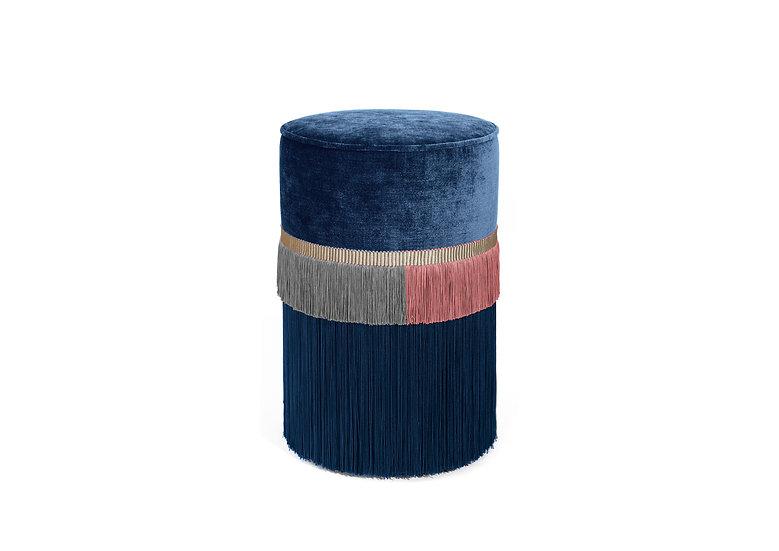 PLAIN LINE BLUE POUF/ OTTOMAN diameter: 30 cm