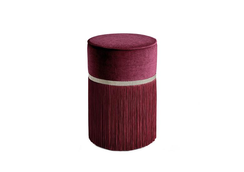 PLAIN BORDEAUX  POUF/ OTTOMAN diameter: 30 cm