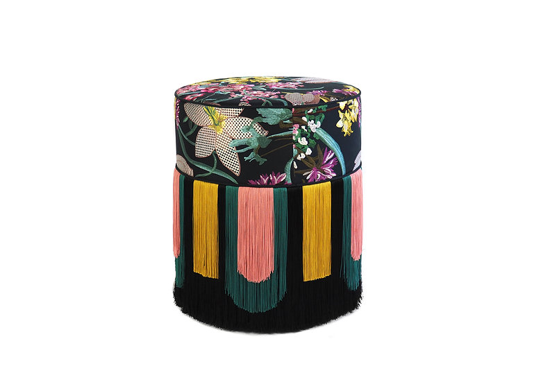 DECO' EMBROIDERED BLACK POUF diameter: 40 cm