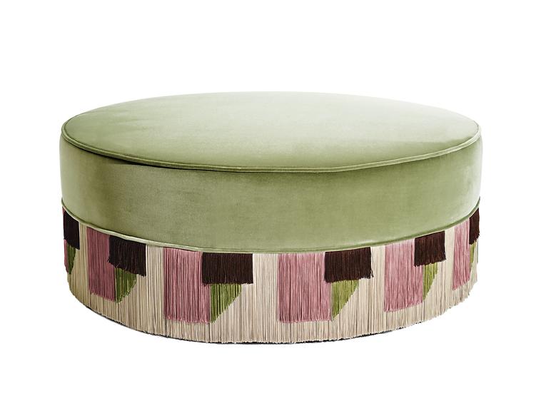 TIE GREEN LARGE ROUND POUF diameter: 95 cm