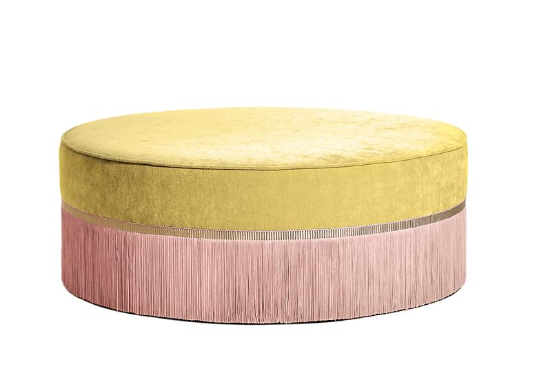 BI-COLOUR YELLOW LARGE ROUND POUF diameter: 95 cm