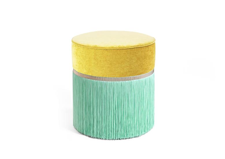 BI COLOUR YELLOW POUF diameter: 40 cm