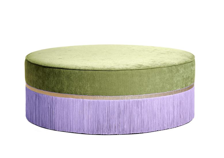 BI-COLOUR GREEN LARGE ROUND POUF diameter: 95 cm