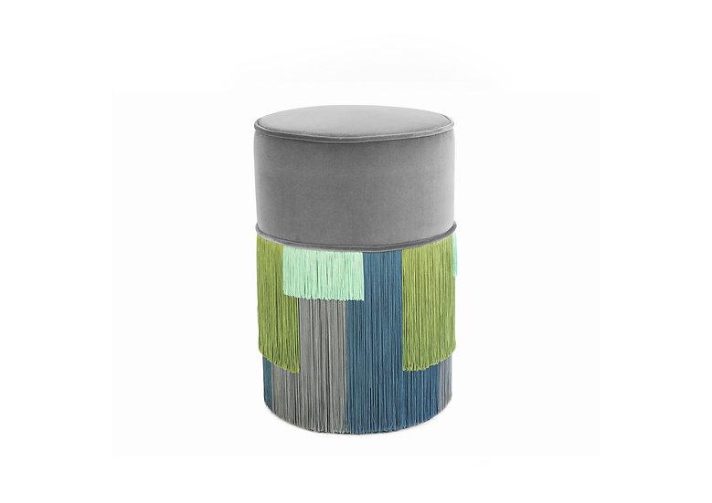GEO STRIPE GREY POUF/ OTTOMAN diameter: 30 cm