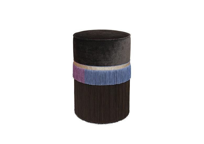 PLAIN LINE DARK BROWN POUF/ OTTOMAN diameter: 30 cm