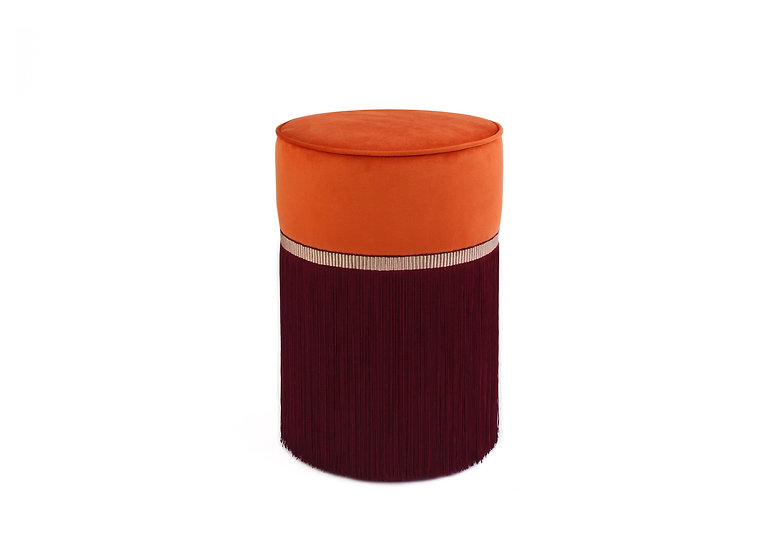 BI-COLOUR ORANGE POUF/ OTTOMAN diameter: 30 cm