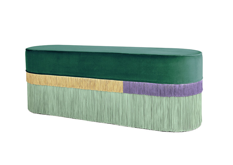 PLAIN LINE LONG OVAL GREEN BENCH length: 130 cm