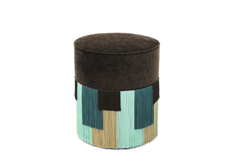 GEO STRIPE DARK BROWN POUF diameter: 40 cm