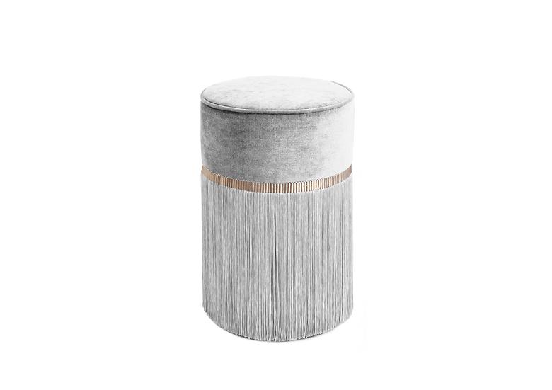 PLAIN GREY POUF/ OTTOMAN diameter: 30 cm