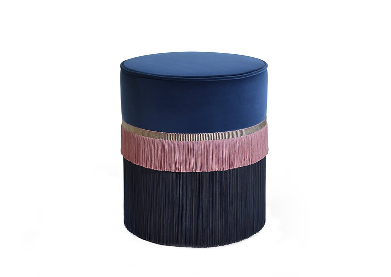 PLAIN LINE BLUE POUF diameter: 40 cm