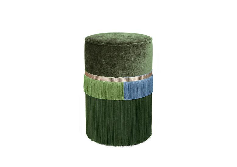 PLAIN LINE GREEN POUF/ OTTOMAN diameter: 30 cm