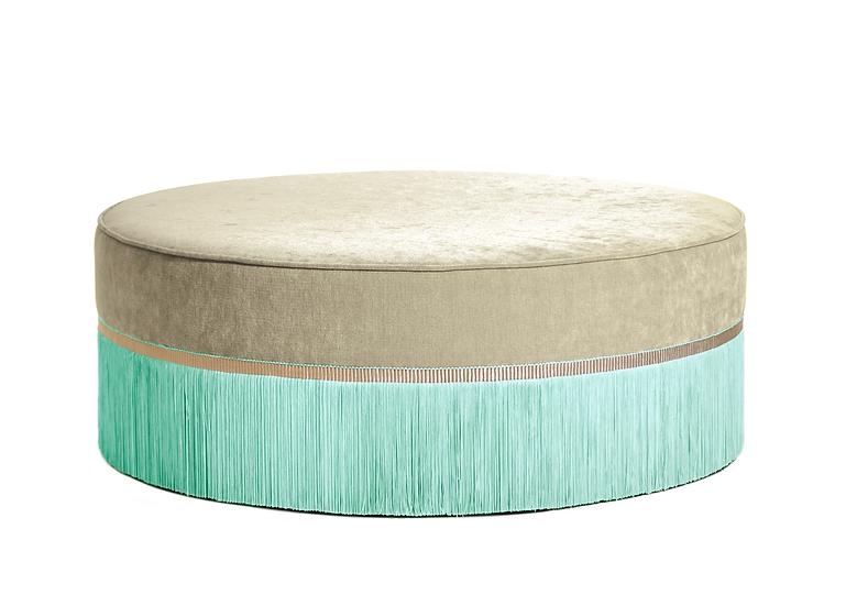 BI-COLOUR BEIGE LARGE ROUND POUF diameter: 95 cm