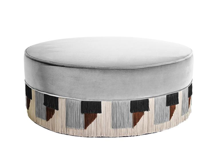 TIE GREY LARGE ROUND POUF diameter: 95 cm