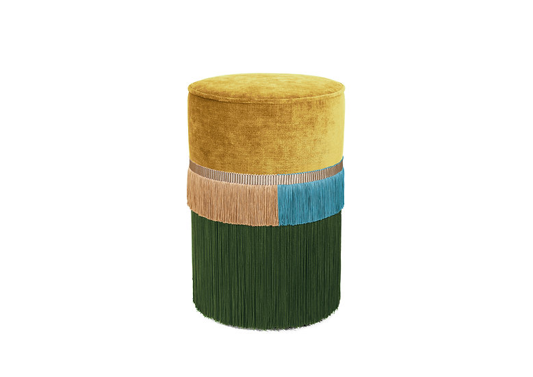 PLAIN LINE YELLOW POUF/ OTTOMAN diameter: 30 cm