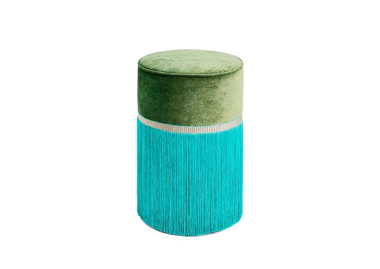 BI COLOUR GREEN POUF/ OTTOMAN  diameter: 30 cm