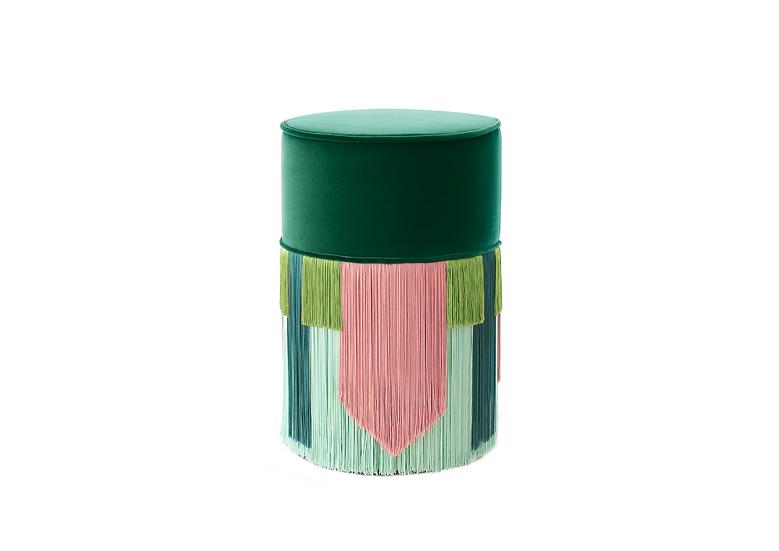 GEO TIE DARK GREEN POUF/ OTTOMAN diameter: 30 cm