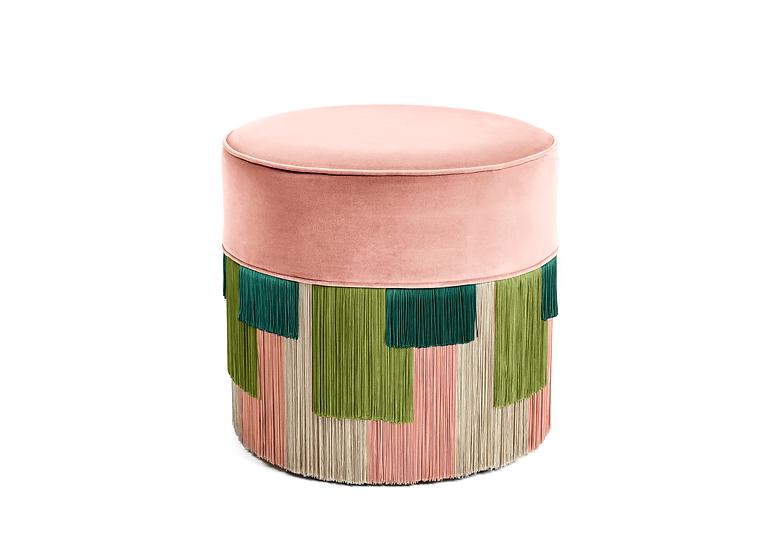 GEO STRIPE PINK POUF / OTTOMAN  diameter: 50cm
