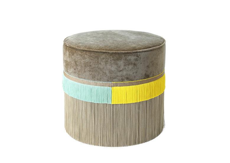 PLAIN LINE BEIGE POUF diameter: 50cm