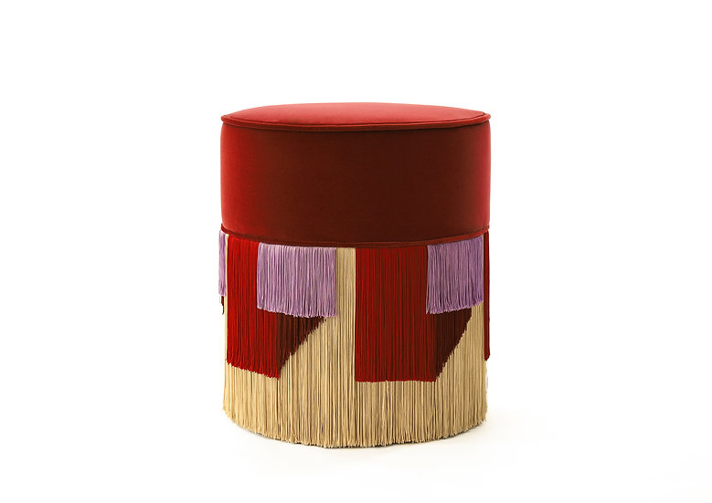 GEO RED POUF diameter: 40 cm
